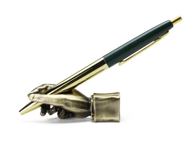 """Writing Hand Pen Stand """"Brass"""""""